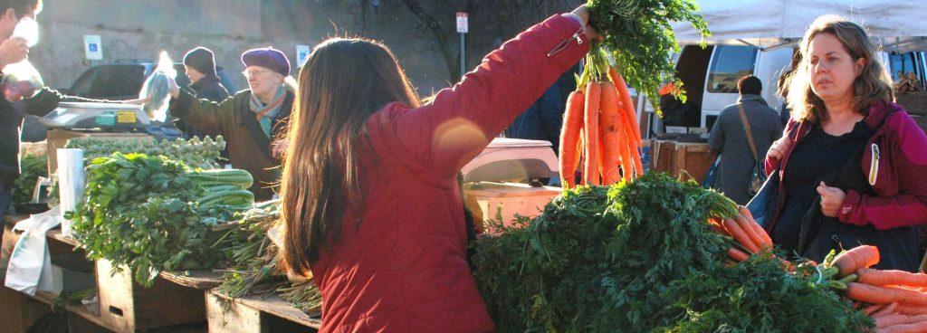 Central Square Market produce vendor presenting produce to shopper