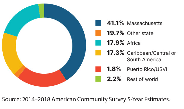Pie Chart: 41.1%-Massachusetts / 19.7%-Other state / 17.9%-Africa / 17.3%- Caribbean/Central or South America / 1.8%-Puerto Rico/USVI / 2.2%-Rest of world