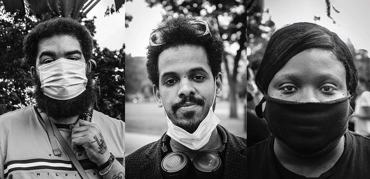 Portraits of black woman and two black men wearing COVID masks outdoors in Cambridge - photos by Kristen Joy Emack